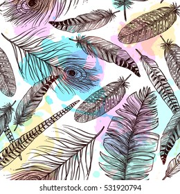 Hand drawn feathers seamless pattern with bird plumes and colorful painting stains vector illustration