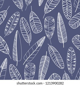 Hand drawn feathers set. Monochrome Vector Seamless Pattern.