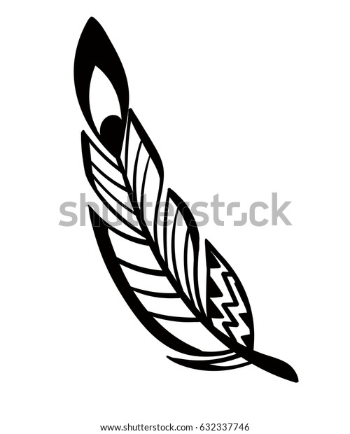 Hand drawn feathers set on white background.