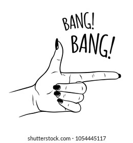 Hand drawn female hand in gun gesture. Flash tattoo, sticker, patch or print design vector illustration