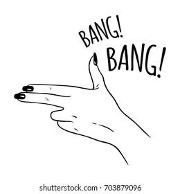 Hand drawn female hand in gun gesture. Flash tattoo or print design vector illustration.