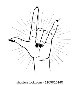 Hand drawn female hand in rock gesture. Flash tattoo, blackwork, sticker, patch or print design vector illustration.