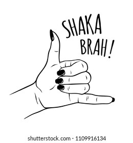 Hand drawn female hand in shaka gesture. Flash tattoo, blackwork, sticker, patch or print design vector illustration.