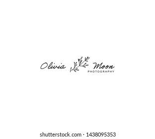 Hand Drawn Feminine Floral Logo. Premade Logo Template for photographer, fashion blogger, design studio, interior design. Initial Monogram Logo. Monoline style Herb. Logo template in simple line style