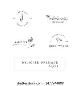 Hand Drawn Feminine Logo. Modern Logo Template for florist, photographer, fashion blogger, design studio, interior design. Branding identity collection. Floral minimal logo