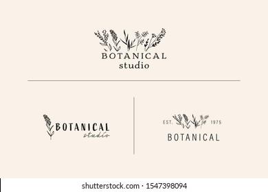 Hand Drawn Feminine Logo. Modern Logo Template for florist, photographer, fashion blogger, spa, cosmetic, interior design. Branding identity collection. Floral minimal logo. Wildflower logo.