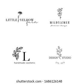 Hand Drawn Feminine Logo. Modern Wild flower Logo Template for florist, photographer, fashion blogger, design studio, interior design. Branding identity collection. Floral minimal logo.