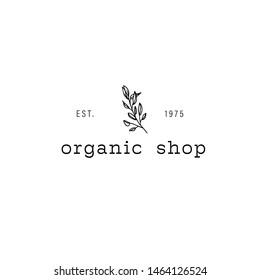 Hand Drawn Feminine Logo. Premade Logo Template for florist, photographer, fashion blogger, design studio, interior design. Branding identity collection. Floral feminine logo