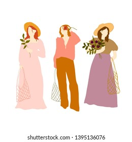 Hand drawn feminist characters in trendy clothes isolated on white background. Woman festival colorful. Girl power design for logo, social media, poster, print. Forever young fashion people.