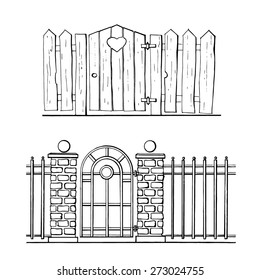 Hand drawn fences with entrance gate door .Vector illustration.