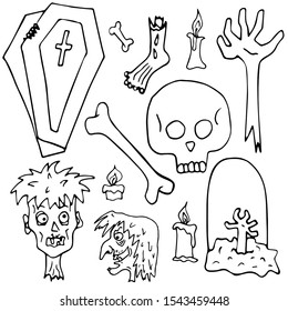 Hand drawn figure set monochrome halloween for coloring. Creepy pictures. The dead. Zombie body parts Pictures for decoration. Set of vector pictures. Little sketch on a white background.