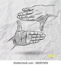 hand drawn of finger frame signal on crumpled paper background