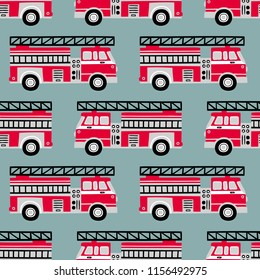 Hand drawn fire trucks seamless vector pattern on light blue background.