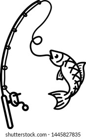 Hand drawn 'fish got caught' vector, clean simple line to illustrate fishing