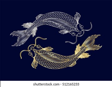 Hand drawn of fish isolated.Gold and silver version. Vector illustration. EPS 10