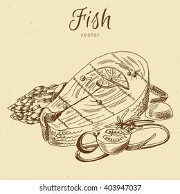 Hand drawn fish, seafood