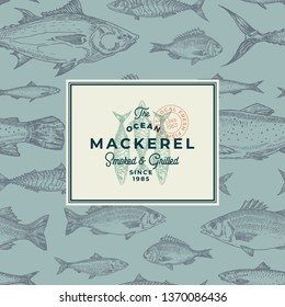 Hand Drawn Fish Vector Background Pattern. Abstract Package Sketch Card or Cover Template with Trendy Typography and Mackerel Emblem. Herring, Anchovy, Tuna, Dorado, Seabass and Salmon. Isolated.