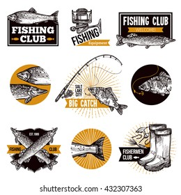 Hand drawn fishing logo emblems set with fishes equipments like fishing rod and advertising isolated vector illustration
