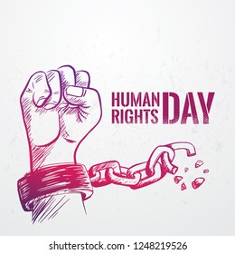 Hand drawn fist raise up breaking chain, Human Rights Day poster grunge texture, vector Illustration
