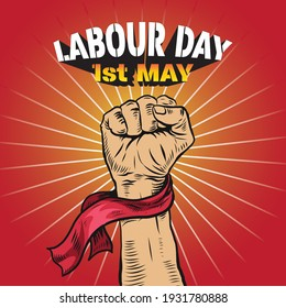 Hand Drawn of Hand fist for World Labour day 1 May . Vector Illustration