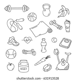 Hand drawn fitness doodles. Isolated set of gym equipment. Apple, sneaker, sport watch, dumbbells, scales, barbell, cycle, shaker, healthy food. Workout and training icons. Sport lifestyle line art.
