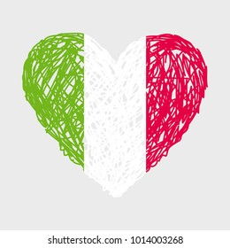 Hand drawn flag of Italy. Three colors: green, white, red. Vector flag of the shape of heart. Striped heart. Italian flag.