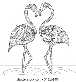hand drawn flamingo couple zentangle 260nw