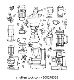 Hand drawn flat cartoon coffee set of equipments for coffee shop, cafe menu. Classic and alternative methods of brewing coffee. Coffee makers, coffee cups.