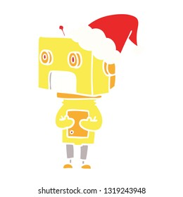 hand drawn flat color illustration of a robot wearing santa hat