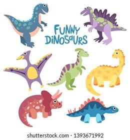 Hand drawn flat vector dinosaurs. Dino set: triceratops, t-rex, pteranodon, spinosaurus, stegosaurus, velociraptor, parasaurolophus. Collection prehistoric animals for print, posters, kids book.