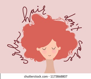 hand drawn flat  vector illustration of woman with red curly hair and qoute - curly hair don't care