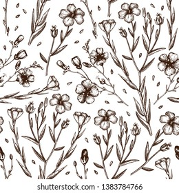 Hand drawn Flax background. Organic food. Flax flowers seamless pattern. Agricultural plant drawing with seeds and flowers. Great for packaging, label, icon. Lineart. Vector outlines.