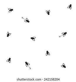 hand drawn flies pattern