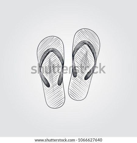 5648b236aefbe7 Hand Drawn flip flops Sketch Symbol isolated on white background. Vector  beach elements art highly