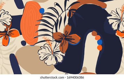 Hand drawn floral abstract pattern. Creative collage contemporary seamless pattern. Natural colors. Fashionable template for design.