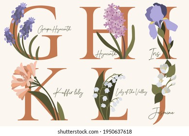 Hand Drawn floral alphabet with spring flowers in pastel colors.Letters G, H, I, J, K, L with flowers grape hyacinth, hyacinth, iris, jasmine, kaffir lily, lily of the valley