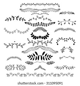 Hand drawn floral borders, dingbats, dividers, wreaths for the page decoration. Isolated on the white background. Can be used for birthday card, wedding invitations, book page decoration.