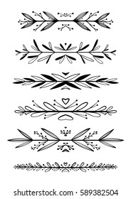 Hand drawn floral borders, dingbats, dividers for the page decoration. Isolated on the white background. Can be used for birthday card, wedding invitations, book page decoration.