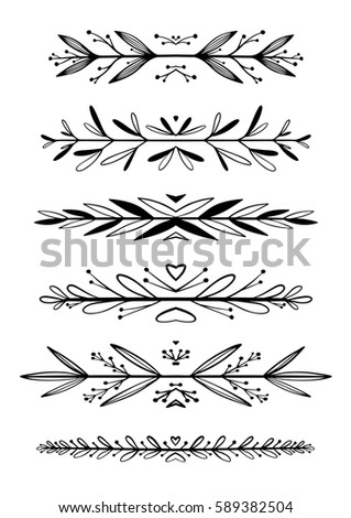 Hand Drawn Floral Borders Dingbats Dividers Stock Vector Royalty