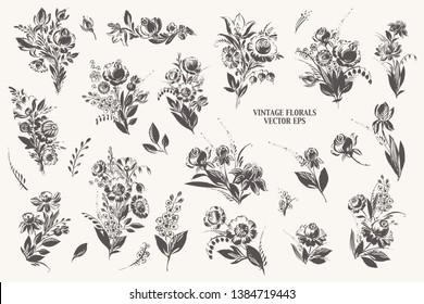 Hand drawn floral bouquets with roses, dahlia, poppy, berries, leaves in black ink. Decorative art flowers vintage style for labels and cards.