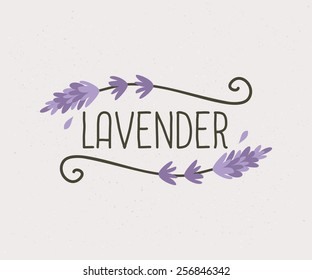 Hand drawn floral design, cute and elegant vintage style logo template.