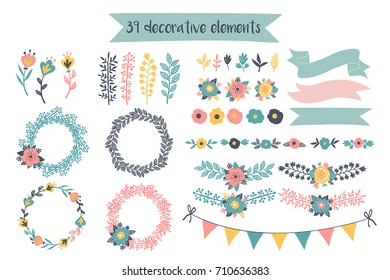 Hand drawn floral elements. Perfect for wedding invitation or baby shower