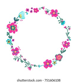 Hand drawn floral frame, flowers vector illustration