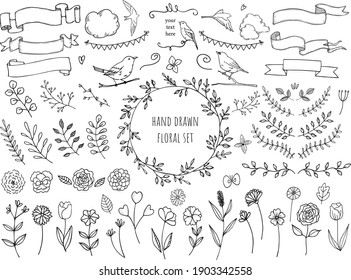 hand drawn floral frame ornaments set, vector illustration for greeting card, nature images