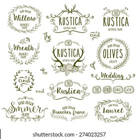 Hand Drawn floral frames in rustic style for any occasion, vector illustration.