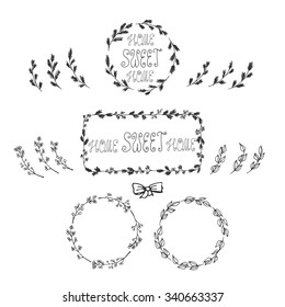 Hand drawn floral frames with separate branches and elements.Round frames made of leaves, berries and christmas tree branches. Home Sweet Home lettering. Black and white bow.Vector stock illustration.