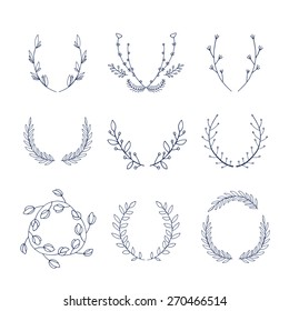 of hand drawn floral laurels and wreaths template for your design