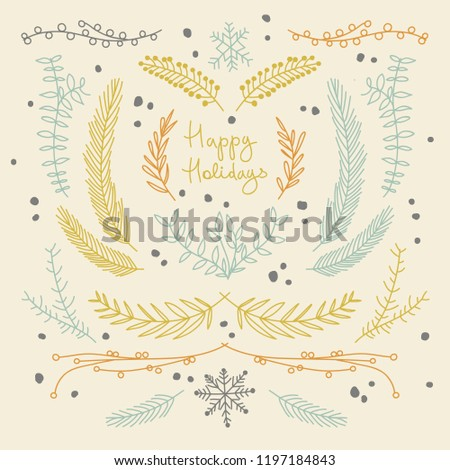 hand drawn floral new year background with natural tree branches and elegant twigs vector illustration