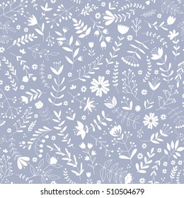 Hand drawn Floral pattern. Seamless vector texture. Elegant template for fashion prints. Printing with white flowers and leaves. Lilac background. Ditsy floral background.