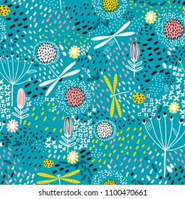Hand drawn floral pattern. Surface with meadow flowers, herbs and dragonfly. Vector seamless background.